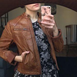 Faux Leather Caramel Moto Jacket